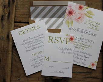 Floral Watercolor Wedding Invitation in Pinks and Greens, Envelope Liner, Rustic Invitation Set, Romantic and Elegant