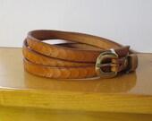 Thin leather belt , Cognac belt , Women leather belt , saddle tan belt , Tan belt , Designer leather belt , Old school color belt