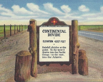 1930s New Mexico Postcard Continental Divide