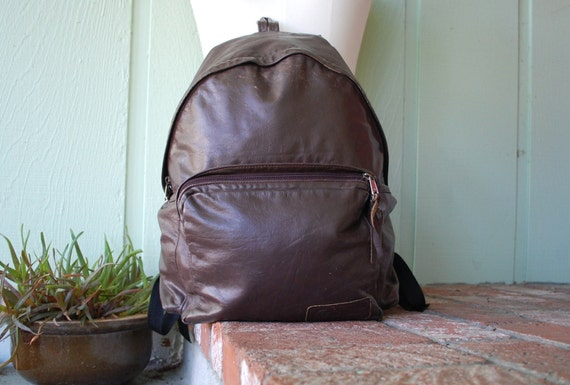 Vintage Rare Eastpak Brown Leather Backpack Rucksack Pouch