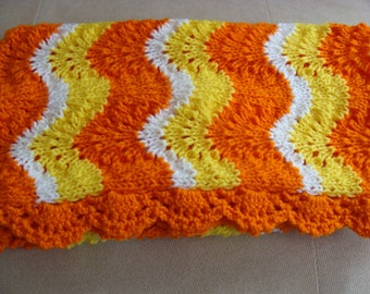 SALE 25 % OFF Hand Knitted Baby Blanket Candy Corn