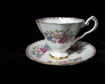 """Royal Stafford """"Windermere"""" Pedestal with Ribbon Border and Floral Sprays Bone China Cup and Saucer"""