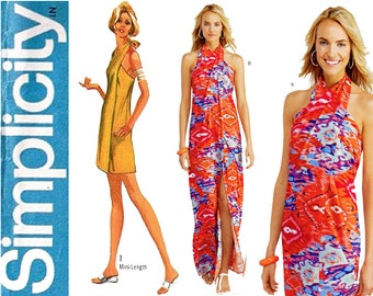 1970s Wrap Dress Pattern Uncut Bust 29 to 48 Simplicity 1100 9415 Reissue Day Evening Halter Wrap Cover Up Womens Vintage Sewing Patterns