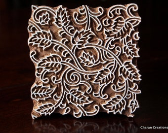 Indian wood stamp, Textile stamp, Blockprint stamp, Pottery stamp- Seamless Leaves Pattern
