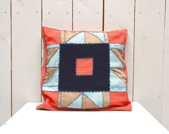 Quilted Patchwork Pillow 1960s Home Decor Country Vintage Pink Tan Navy Cabin Couch Lap Pillow