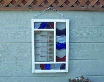 Patriotic Decor, Stained Glass and Steel Hanging, Porch or Indoor Decor, Red White and Blue