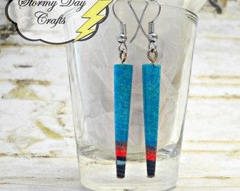 Spike Earrings, Storybook Earrings, Paper Bead Earrings, Book Earrings, Cone Earrings, Black and Blue Earrings, Gift For Her, Red Earrings