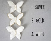 Butterfly Clip On Ornaments - White Feather Butterfly Clip On Christmas Tree Ornaments - Clip On Ornaments - Silver And Gold - Nature Tree