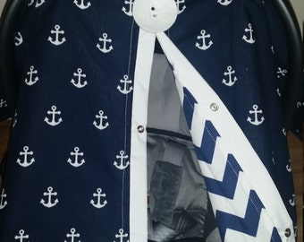 Carseat Canopy Carseat Cover Navy Anchor Chevron Reversible