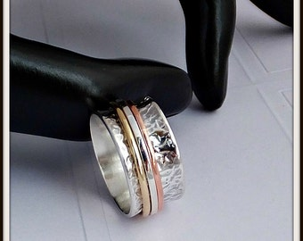 Meditation 3 spinners ring Artisan designer sterling silver , copper and brass man and woman Your size