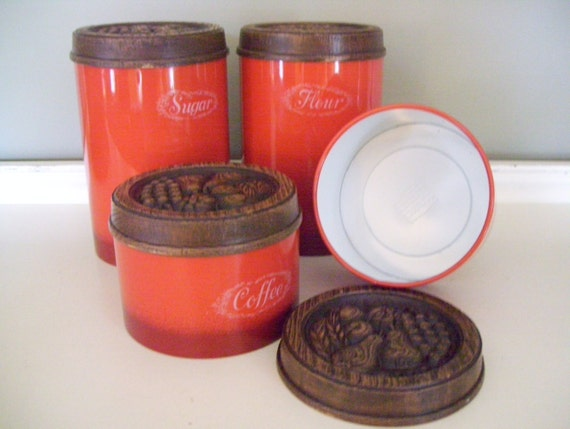 Kitchen canister set retro orange unused by lakebreezevintage for Kitchen set orange