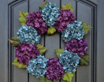 Hydrangea Wreath Fall Wreath Summer Wreath Grapevine Door Wreath Turquoise Purple Hydrangea Floral Door Decoration Indoor Outdoor