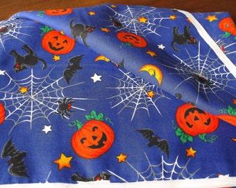 Cotton Fabric Halloween Pumpkins, Spiders & Spider Webs, Black Cats - Remnant Piece
