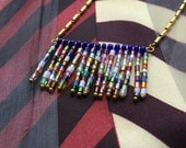 HALL OF FLAGS - colorful bugle bead fringe necklace, gold-plated chain.