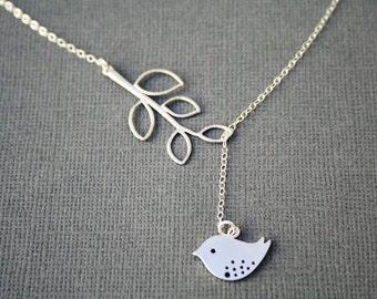 Bird Necklace. Bird Lariat. Silver Bird Necklace. Leaf. Bird and Branch Necklace. Bird and Leaf Necklace.Leaf Necklace.Simple. Minimalist.