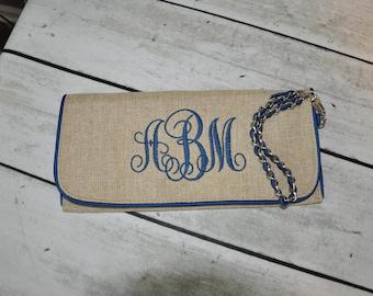 SALE Monogrammed Jute Clutch Bag Bridesmaid Wedding Gift
