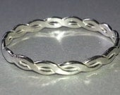 Twist Ring, Sterling Silver Braided Ring Free Shipping, Stackable Ring Rope Style, Thin Silver Ring