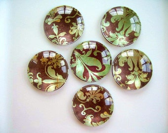 Brown Green Round Glass Magnet, Brown Green Color Fridge Magnet, Brown Green Round Magnet - 6 PCS