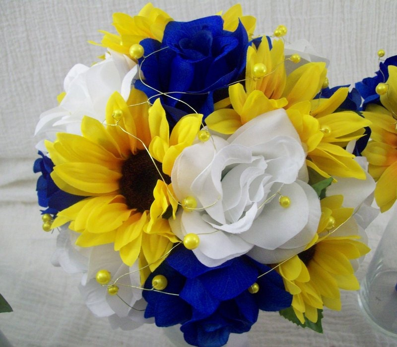 Wedding Flowers Yellow Roses: Royal Blue And Yellow Wedding Flowers Bridal Bouquet Wedding