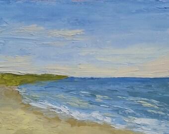 Original 5x7 Oil Painting of Off Season Beach
