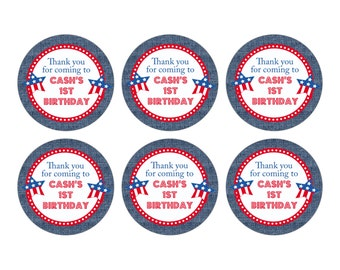 Printable 3 inch Circle Tags - Birthday or Happy 4th of July Party - Patriotic - Memorial Day - Labor Day - Red White & Blue