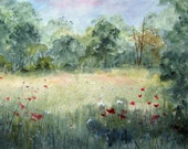 Meadow, watercolor painting, archival print, landscape painting, meadow wildflowers, nature painting, woodland meadow, summer meadow