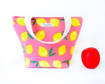 Insulated Tote-Style Lunch Bag with Waterproof Lining - Pink Lemonade (Choose Your Size!)