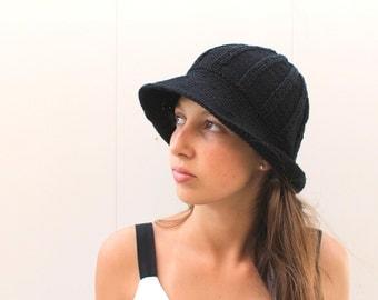 Wide Brimmed Black Knit Hat, Vintage Inspired Winter Cap, Trendy Knit Caps