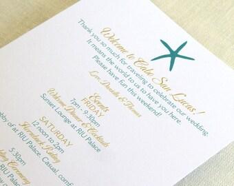 Beach Starfish Wedding Itinerary Card - Welcome Bag Card - Destination Events Card - Custom Colors