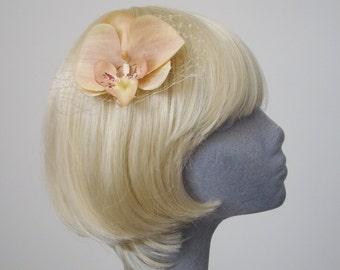 Peach Flower Hair Comb - Peach-Champagne Orchid Hair Comb