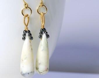 Dendrite Opal Black Hematite Drop Earrings by Agusha. Dendritic White Opal Gold Filled Drop Earrings. Wire Wrapped Gemston Earrings