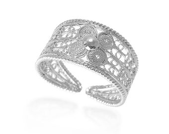 Flower band ring Filigree ring Sterling silver Daisy flower ring Silver flower ring Hippie jewellery