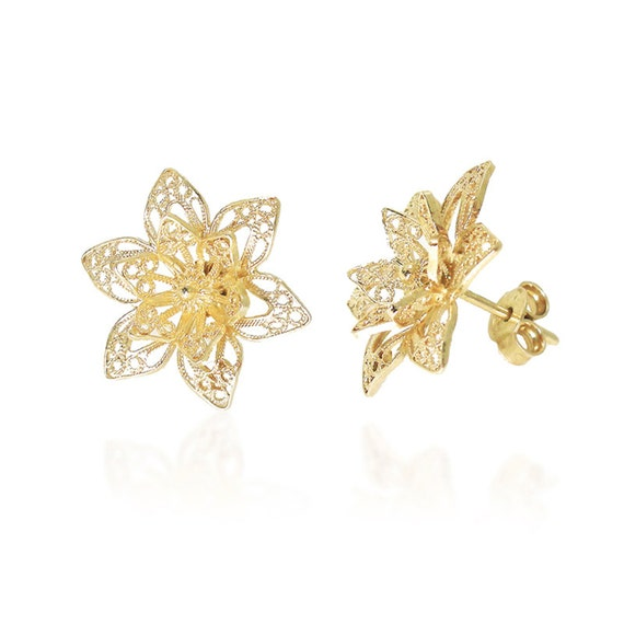 lotus flower earrings gold vermeil 18k bridal stud by