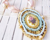 Pastel Rose Cameo Necklace Upcycled Beaded Filigree Pendant Haskell Style Mauve light Blue Gold Faux Pearls Antique Look