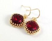 July Birthstone Earrings - Ruby Red Earrings - Swarovski Crystal Cushion Cut Siam Gold Bezel Earrings