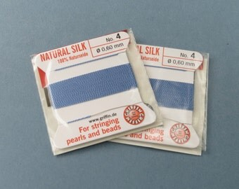 Natural Silk Cord With Needle - 2 packs - Size 4 - Medium Blue