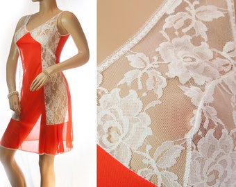 Delightful 'Charmant' silky soft sheer lipstick red shiny nylon and delicate white lace detail 1960's vintage full slip petticoat  - 3226