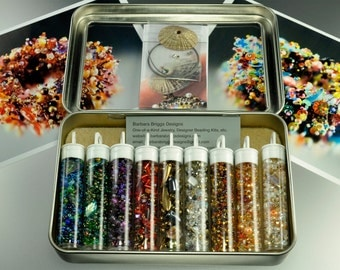 Treasure Box Bead Collection in Travel Tin with Handmade Polymer Clay Button