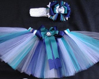 Seattle Mariners inspired tutu set custom made your choice of size up to a 4t