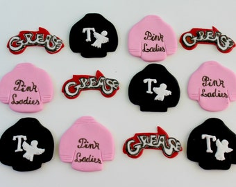 12 fondant cupcake toppers--1950s, Grease, T birds, Pink Ladies