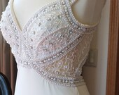 Pearl Encrusted lavish wedding dress art deco alternative design handmade beaded backless dress