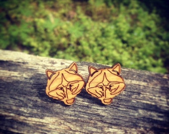 Natural Wood Wolf Stud Earrings