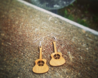 Peace Guitar Earrings