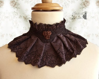 Collar lace, Steampunk, Victorian, brown, mori, Noctua, Somnia Romantica, size large - extra large see item details for measurements