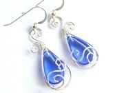 Teardrop Swirl Earrings - Royal Blue Glass Briolette and Silver Wire Wrapped Dangle