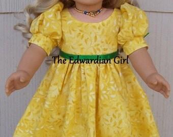 OOAK yellow leaf Regency dress for 18 inch soft bodied dolls. Fits Caroline, Springfield, American Girl, Gotz Made in USA