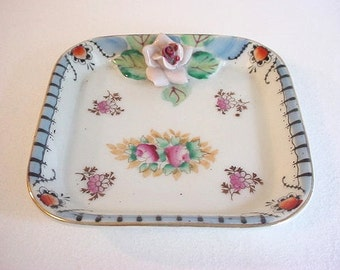 Lovely Small Vintage Porcelain Catch-All Dish w/ Floral Pattern- Japan
