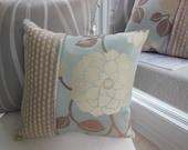Beige Decorative Pillow - Magnolia Flower Pillow - Silvery Blue Pillow - Striped Pillow - 15 x 15 inch Reversible - Magnolia Flower Pillow