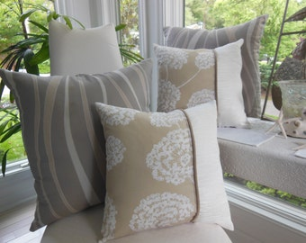 Dandelion Pillow - Beige Pillow - White Pillow - 15 x 15 Inch Reversible - Beige and White Dandelion Accent Pillow