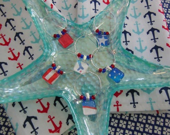 Patriotic Labor Day Wine Charms - Red White and Blue - Fourth of July - Memorial Day - Set of Six - Glass Wine Charms - Pillowscape Designs